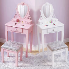 Children Kids Wooden Dressing Table Vanity Set with 3 Drawers & Stool White/Pink