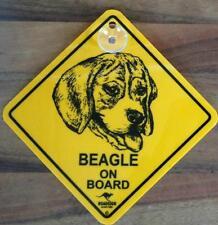 12cm Roadsign Schild mit Saugnapf  BEAGLE Warnschild Hund