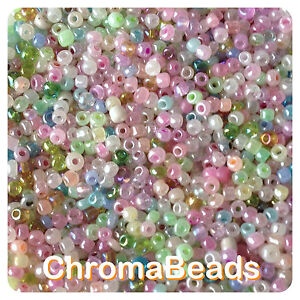 100g MIXED CEYLON glass seed beads - choose size 6/0, 8/0 or 11/0 (4, 3 or 2mm)