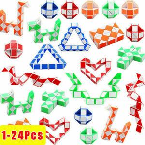 1-24 Pack 24 Blocks Magic Snake Cube Twist Puzzle Toys Kids Mini Speed Cubes UK