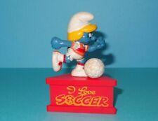 Smurfs I Love Soccer Smurfette Smurf-a-Gram Rare Vintage Figurine on Stand