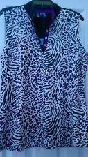NWT Ladies GG Blue Purple & Black Animal Print Sleeveless Golf Shirt - size M