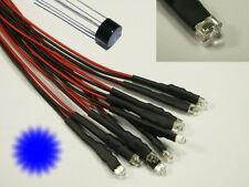 S902 - 5 pièce MINI- CLIGNOTANT LEDS 1,8MM BLEU transparent avec câble pour