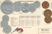 EARLY 1900's VINTAGE SERBIA EMBOSSED COPPER GOLD & SILVER COINS & FLAG POSTCARD