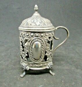"""Silver Plate Reticulated Mustard Jar without glass liner - approx. 4"""" tall"""