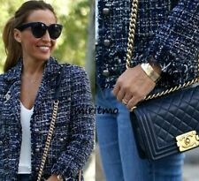 ZARA WOMAN NAVY BLUE TWEED FRAYED EMBELLISHED BLAZER COAT JACKET LOVELY - L