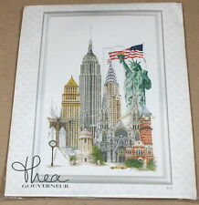 "Thea Gouverneur ""New York"" Statue of Liberty / USA Flag Cross Stitch Kit NIP"