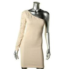 BCBG GENERATION ~ $108 BEIGE POINTELLE ONE-SHOUDER STRETCH CLUB DRESS SZ M/L NWT