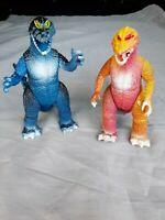 2x Dino Monster Drache Figur von 1986 - blau & braun - Kaiju Figure - ca 22cm