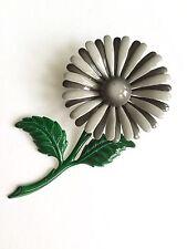 Large Vintage Gray Enamel Flower Brooch