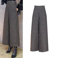 Women High Waist Wool Tweed Palazzo Wide Leg Pants Culottes Trousers Winter Chic