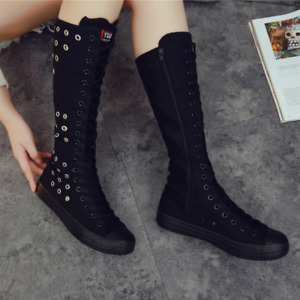 Womens  Canvas Knee High Hidden Heels Punk Rock Dance Shoes