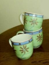 3 HTF Mulberry Home Collection Coffee Cups Blue Bands&Dots/Green & Flowers