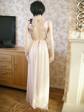 8 TFNC NUDE / GOLD DRESS SEQUIN CHIFFON BACKLESS BRIDAL / BALL 20S 30'S VINTAGE