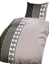 5 tlg. Microfaser Bettwäsche 135x200 cm beige anthrazit Ranke Set mit Bettlaken