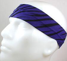 "NEW 2"" Super Soft Purple Black Zebra Hair Band Head Sport Sweat Headband Stretch"