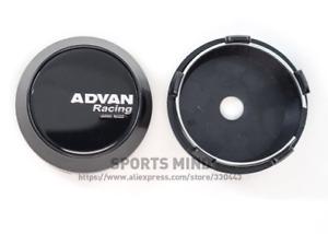 4x60mm Advan Racing Black Emblems Wheel Center Hubcaps Rim Caps Decals Badges
