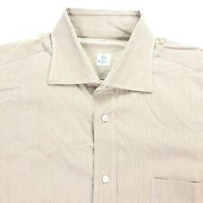 Borrelli Napoli Cotton Spread Collar Dress Shirt Beige Stripes • Italy • 17   43