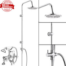 Traditional Cranked Leg Bath Shower Mixer Tap & 3 Way Round Rigid Riser Rail Kit