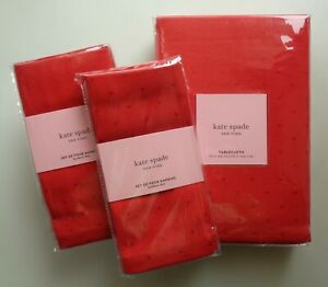 "kate spade LARABEE Dot Tablecloth 70 X 144 "" + 8 Napkins Set Cranberry Red NEW"