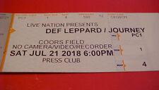 Def Leppard Journey Concert Ticket Stub Club Level Rare 7/21/18 Coors Field