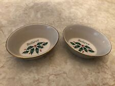 "Pair of Lenox Holiday Sentiments ""Believe� Oval Dish Holly Berry Set 2 Elegant!"