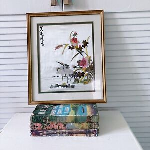 Vintage Chinese Framed Silk Embroidery Hand Stitch Picture Heron Bird Flowers