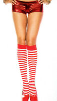 Music Legs 5741 Socks Knee Hi Pirate Raggedy Elf Nylon O/S Striped Red White