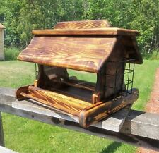 Rustic Large Cedar Wood Post Mount Bird Feeder With Suit Holders TBNUP #2B