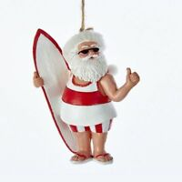 """Kurt Adler 3.5"""" Resin Red/White Santa Beach Ornament"""