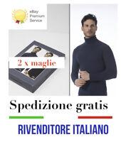 2 X Maglia Lupetto Mezzo collo Uomo Termico caldo cotone Slim Fit marca italiana