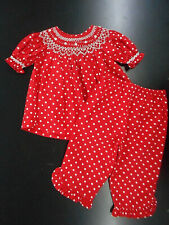 Infant/Toddler/Girls Mom & Me Red Smocked Dress Top W/ Pants Sizes 12Mth. - 6X