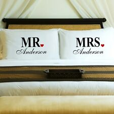 Mr. Mrs. Red Heart Personalized Couple's Pillow Case Cases Wedding Gift