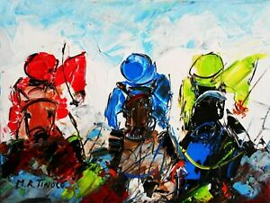 PEINTURE TABLEAU Courses hippiques PMU acrylique s/toile signé TINOCO cote AKOUN