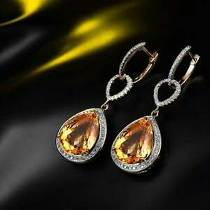 Yellow Citrine & Diamond 4.12Ct Drop Dangle Earrings with 14k Yellow Gold Over