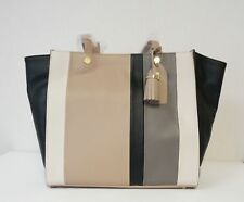 EMMA FOX $248 NEW Prilla Leather Large Tote Grey Taupe Colorblock with Tassel