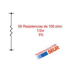 50X Resistencias Pelicula metalica 100 Ohm 1/2W  5%