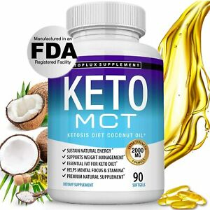 Keto MCT Oil Capsules Ketosis Diet - 2000mg Natural Pure Coconut Oil Extract...