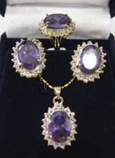 Hot Faceted Russican Amethyst Pendant Necklace Earrings Ring Set AAA Top Grade