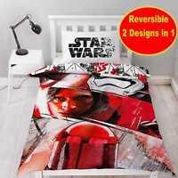 New STAR WARS The Last Jedi Single Duvet Quilt Cover Set Boys Kids Red White Bed