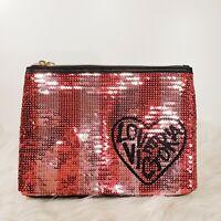 Victorias Secret Makeup Bag Wristlet Pink Striped Sequins Purse Love New VS
