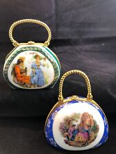Set of Two Vintage Collectable My Treasure Hand Painted Porcelain Trinket Purses