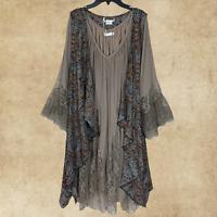 Plus Size Vintage Boho Prairie Sleeveless Kimono Duster Cardigan Vest 1XL 2XL