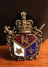 Vintage Estate Signed Coro Heraldic Crown and Coat of Arms England Enamel Brass