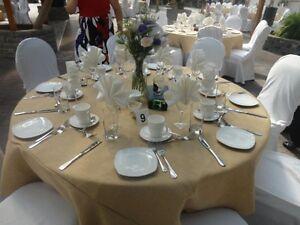 "5 Round 132"" Burlap Tablecloths 100% Premium Natural Refined Jute Wedding 6 ft"