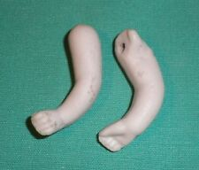 "Antique porcelain dollhouse doll arms, lastic fixing, 1.18"""