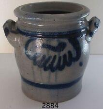 Alter Steinguttopf mit blauem Dekor, Inhalt 1 ½ Liter, Höhe 16 cm, ØÖffnung 13,5