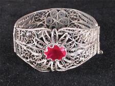 Vintage Antique 800 Silver Hinged Bangle Bracelet, Large Red Faceted Stone, A+++