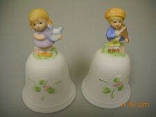 Homco Figurine Bells Clapper #1416 Set of Two Girl and Boy w/Musical Instruments