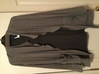 Doncaster gray shrug open sweater coat cardigan and pockets sz 10 NEW